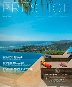Prestige Magazine print marketing cover with house view of ocean