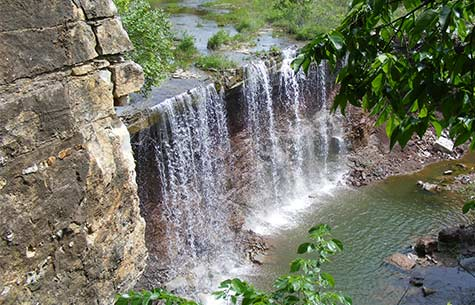 View of beautiful waterfalls in Cowley County KS