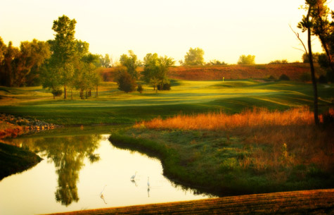 Sunset view over golf course in Newton and Harvey County KS