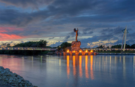 Scenic view of Wichita KS river, bridge and statue