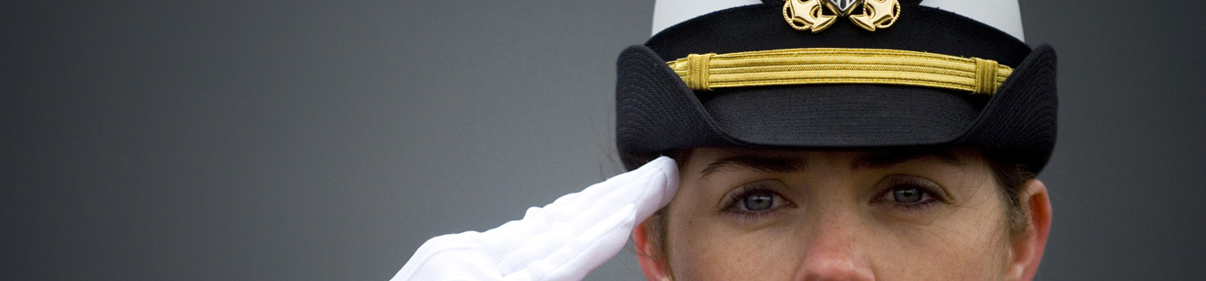 Female officer saluting