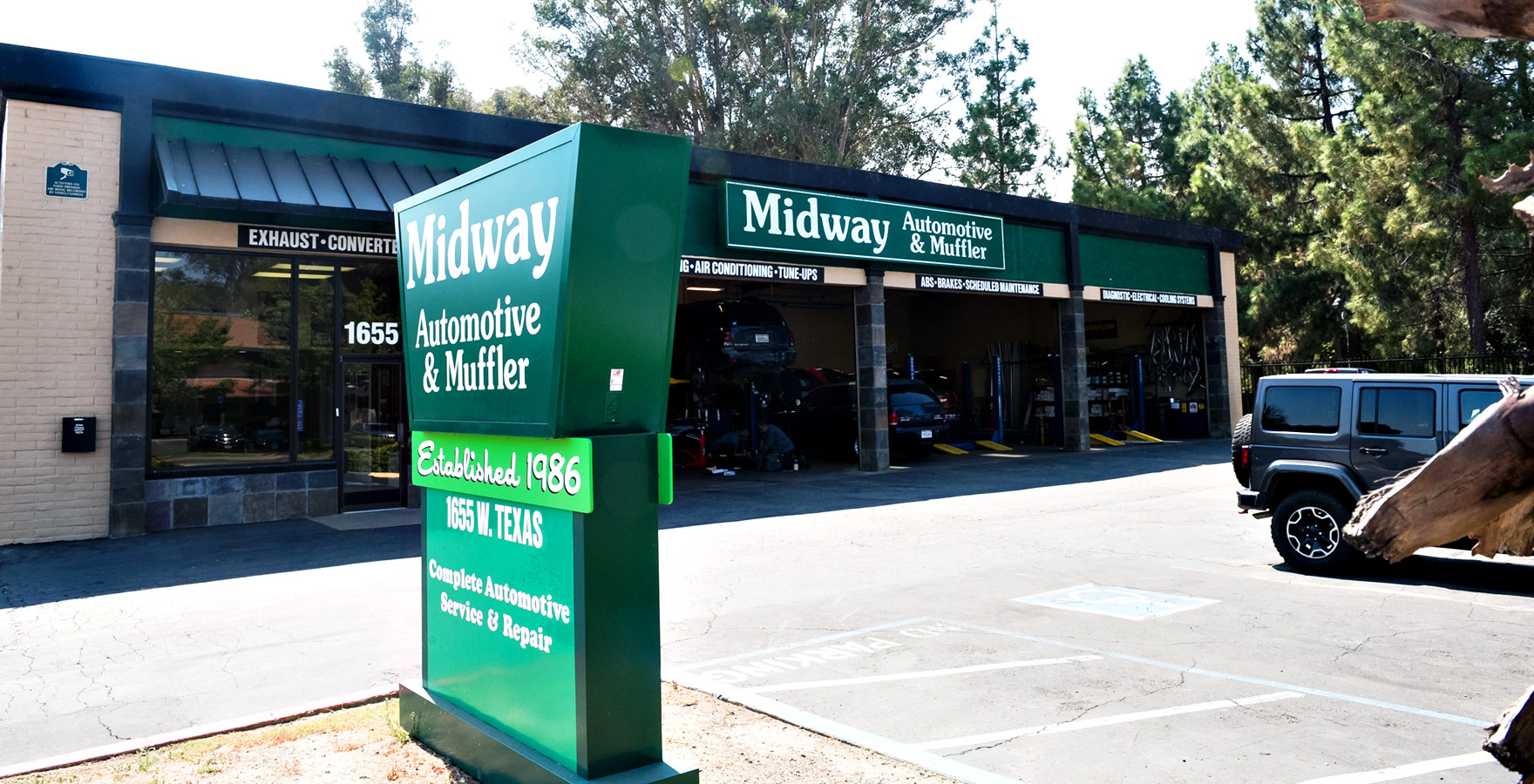 midway auto shop and sign