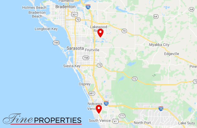 Fine Properties office locations on a map