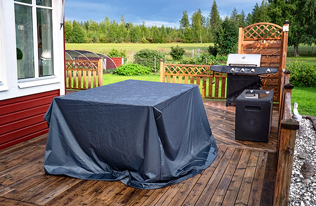 Outdoor furniture covered up to weather proof