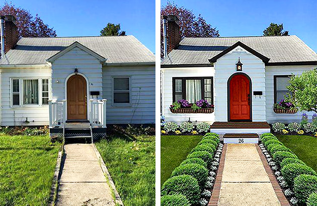 Before and after of front exterior of home