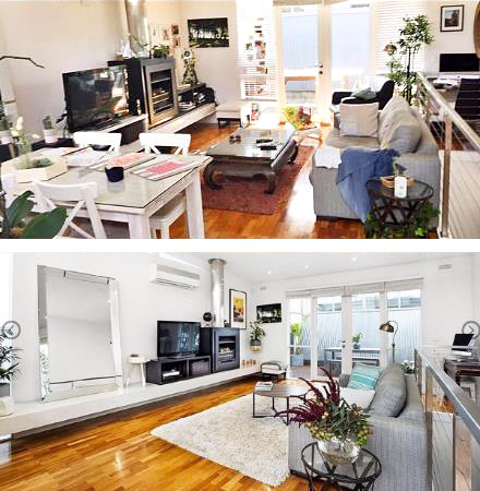 Before and after of uncluttered living room