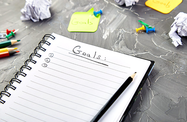 Realistic goals - Notepad with goals