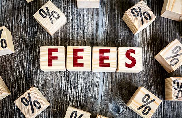 Childrens blocks spelling the word fees on a wooden table