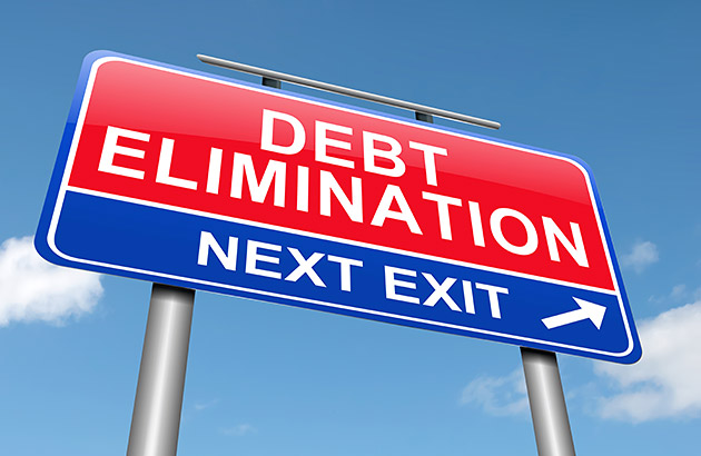 Road sign saying debt elimination next exit