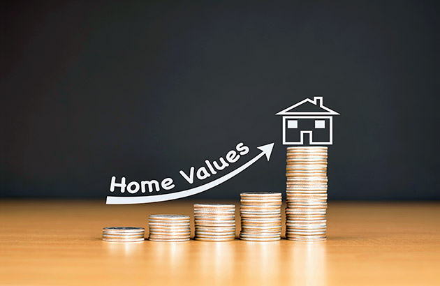 Home value appreciation - illustration of increasing home value