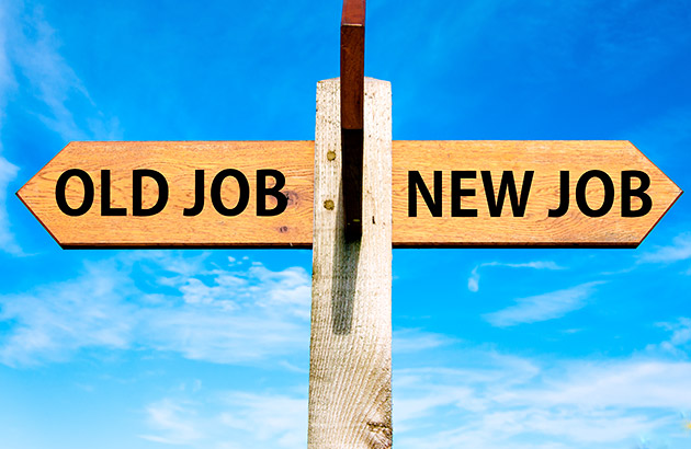 Concept sign showing arrows pointing separate directions, one saying old job, the other saying new job