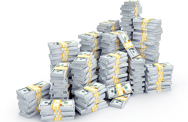 Stacks of pre-counted, wrapped one-hundred dollar bills representing a large bank deposit