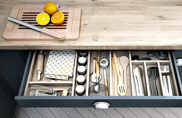 Drawers with clever storage to de-clutter