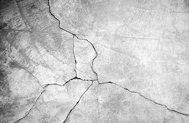 Cracks in the concrete ready for repair