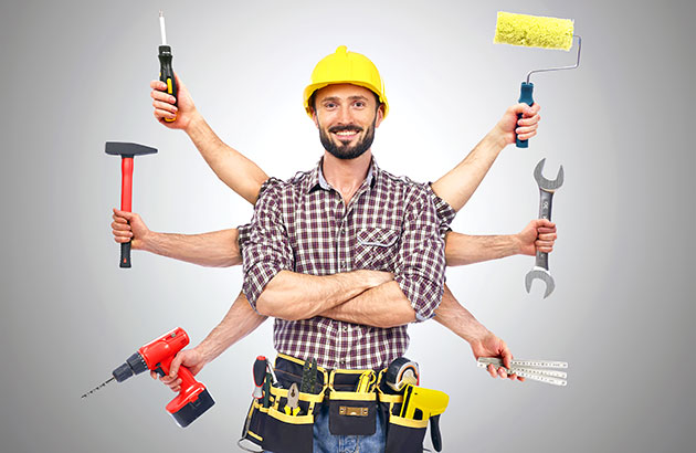 A contractor with many arms holding various tools