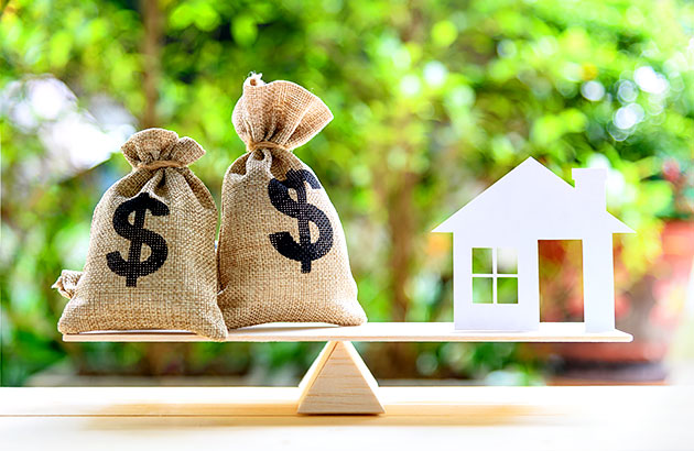 Conceptual image of balancing investments in your home