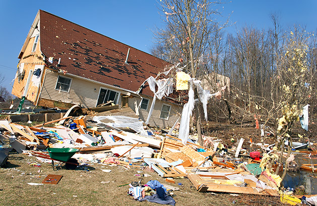 Home damaged from a storm