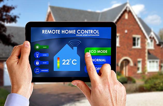 User controlling HVAC through an app on their tablet