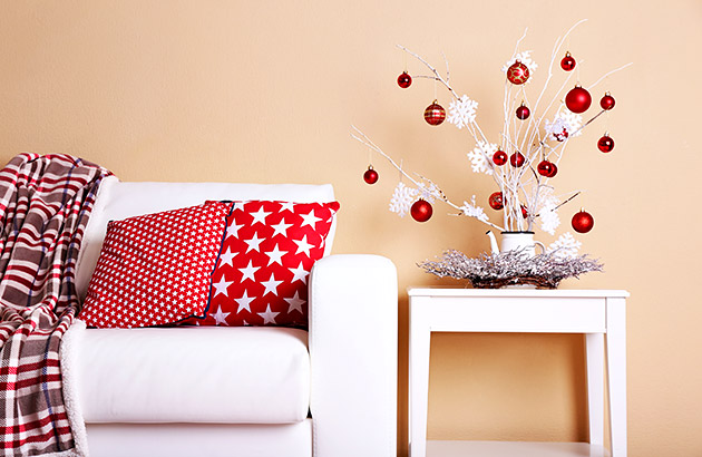 A modern living space decorated for the Holidays