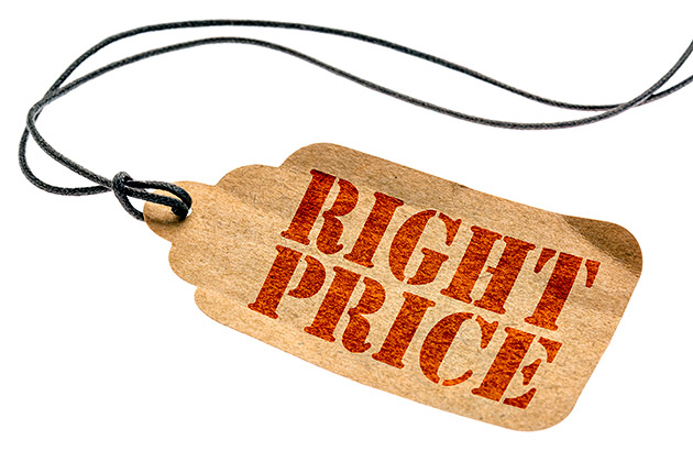 Vintage price tag with Right Price printed in red